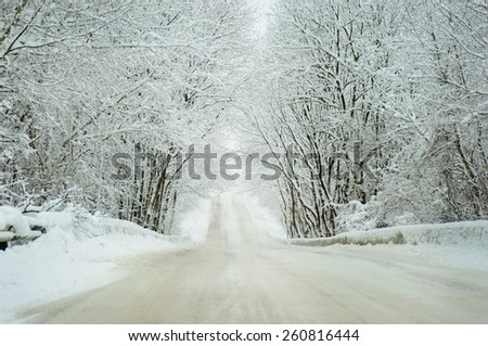 Cold winter landscape of a road  - stock photo