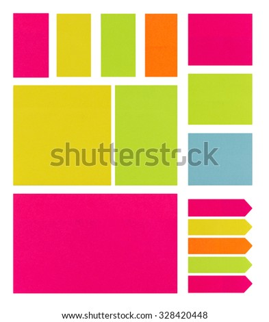 Colection of Coloufull Post It Notes on a White Background - stock photo