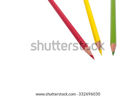 Colered pencils isolated on white background