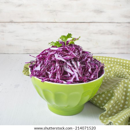 Coleslaw salad with red cabbage on light background - stock photo