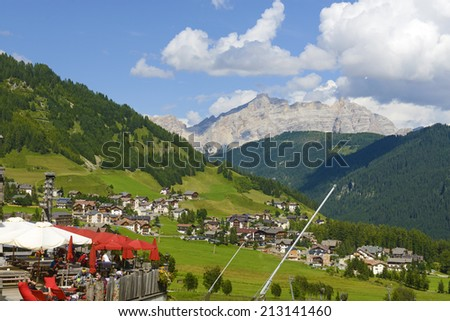 COLFOSCO, ITALY AUGUST-07, 2014: Dolomites landscape of the Val Badia, in Colfosco.