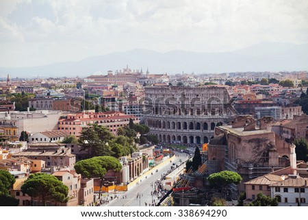 Coliseum and panoramic view of Rome, Italy - stock photo