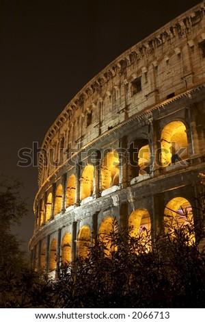 coliseum at night - stock photo