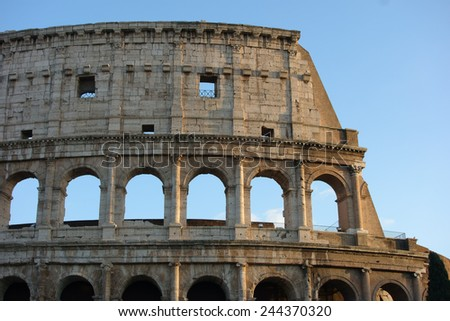 Coliseum detail, ancient Roman amphitheater, Rome, Italy