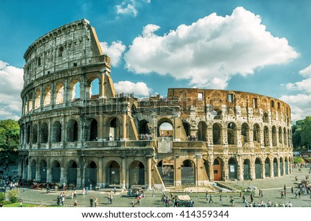 Coliseum in Rome, Italy. Roman Coliseum is one of the main travel attractions. Coliseum in the sunlight. Scenic view of Coliseum.