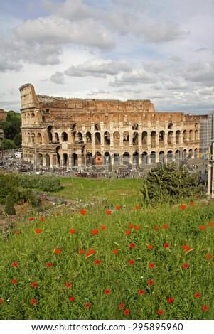 Coliseum or Colosseum amphitheatre in Rome, Italy - stock photo