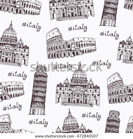 Coliseum, Tower of Pisa, St. Peter's Cathedral, hand drawn illustration with landmarks of Rome, Italy. Seamless pattern, italian travel background