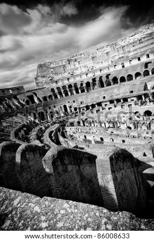 Coliseum view from the inside. - stock photo