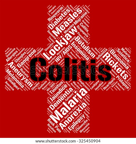 Colitis Word Indicating Inflammatory Bowel Disease And Poor Health