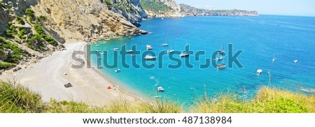 Coll Baix famous bay with beach, Majorca, Spain - view from above