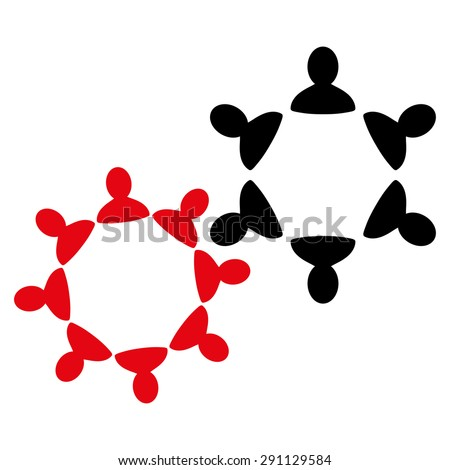 Collaboration icon from Commerce Set. Glyph style: bicolor flat symbol, intensive red and black colors, rounded angles, white background. - stock photo