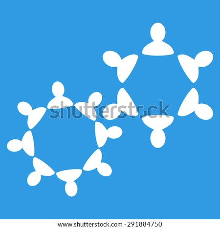Collaboration icon from Commerce Set. Glyph style: flat symbol, white color, rounded angles, blue background. - stock photo