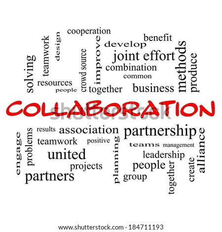 Collaboration Word Cloud Concept in red caps with great terms such as together, people, teams and more.
