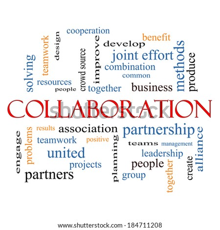 Collaboration Word Cloud Concept with great terms such as together, people, teams and more.