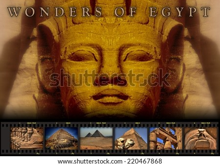 Collage 004a Wonders of Egypt (color with title) - stock photo