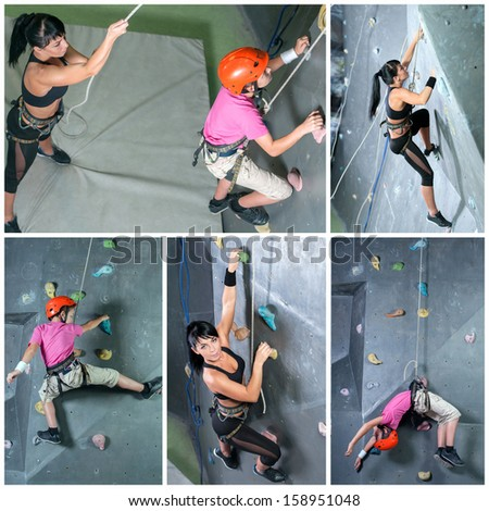 Collage. A young boy with his instructor woman. Climbing the wall - stock photo