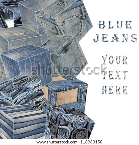 Collage about blue jeans with a copy space and cubes - stock photo