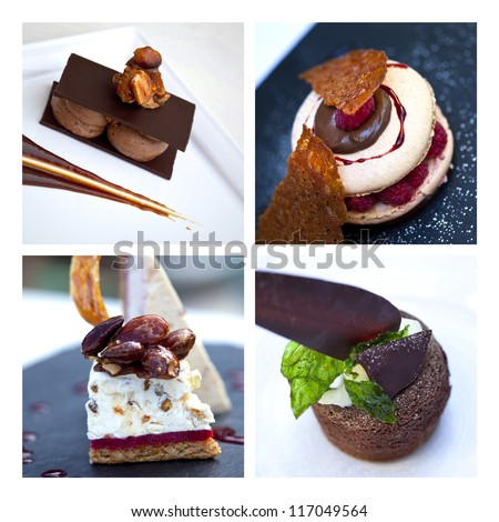 Collage about cakes and desserts - stock photo