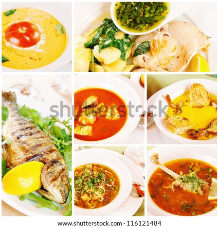 Collage about different food