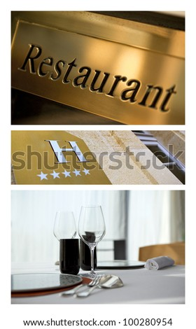 Collage about luxury hotels and restaurants - stock photo