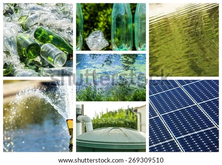 Collage about recycling on clean energy - stock photo