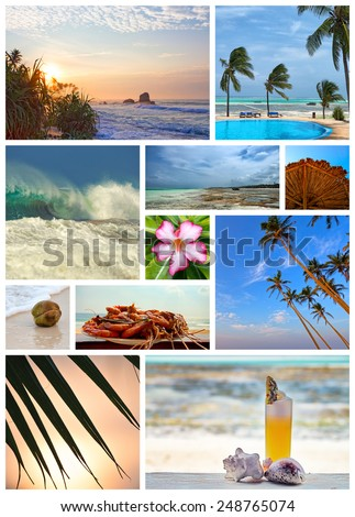 Collage about vacation in tropical island resort - stock photo