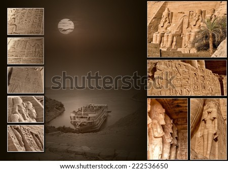 Collage Abu Simbel (Egypt). - stock photo