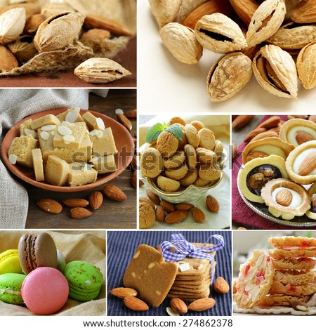 collage almond and nut products - marzipan, macaroon, cookies - stock photo