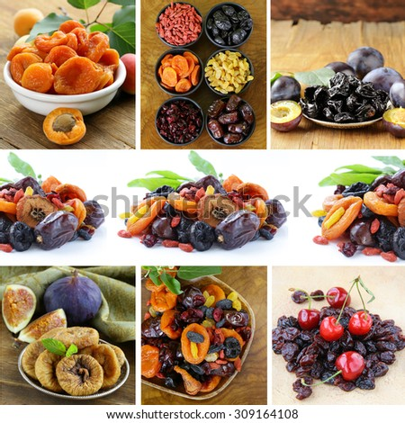 collage assorted dried fruits (raisins, apricots, figs, prunes, goji, cherry,cranberries)  - stock photo