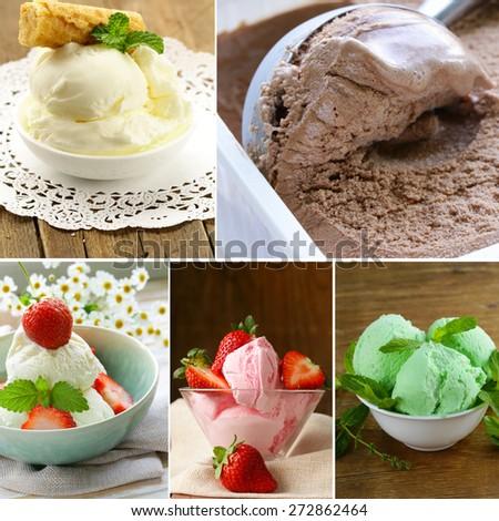 collage assortment ice cream (vanilla, strawberry, mint, chocolate) - stock photo