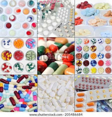 Collage assortment of pills, capsules and tablets