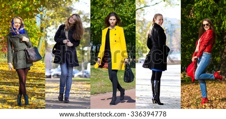 Collage autumn fashion. Five different young women in trendy clothes pines - stock photo