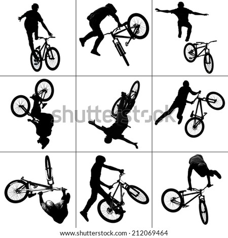 collage background silhouette of bmx riders in action - stock photo