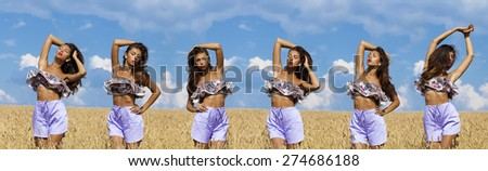 Collage, Beautiful sexy young women in a wheat golden field - stock photo