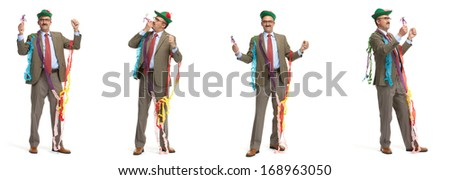 Collage. Businessman and holiday on a white background - stock photo