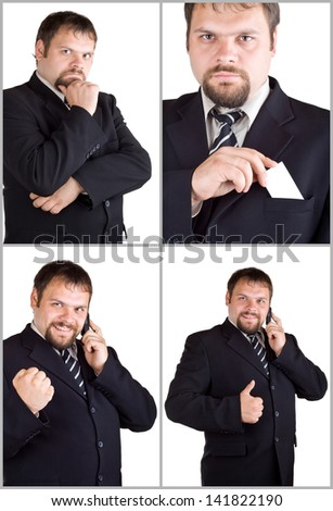 Collage. Businessman isolated on white background - stock photo