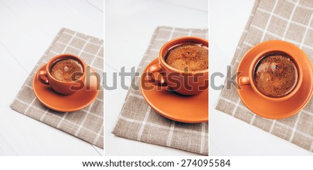 Collage. Ceramic cup of coffee lying on squared napkin on white wooden table - stock photo