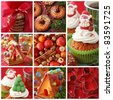 Collage christmas cakes - stock photo