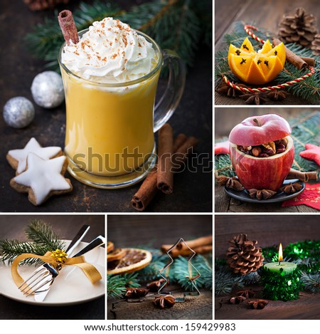 collage christmas rustic with eggnog