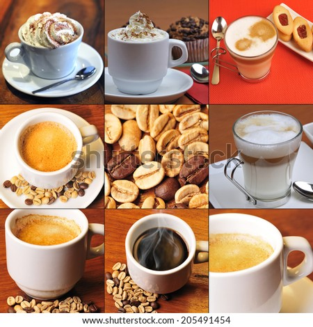 Collage coffee and grains, nature and toast gourmet selection - stock photo