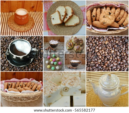 collage, coffee and sweets. several small cups of coffee and a coffee pot. biscuits and cake