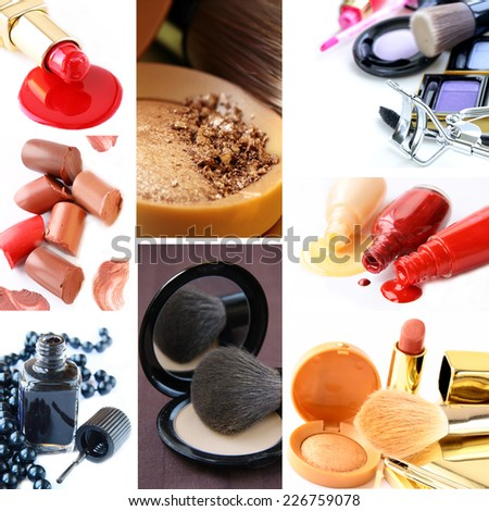 collage collection decorative cosmetics and makeup brushes - stock photo