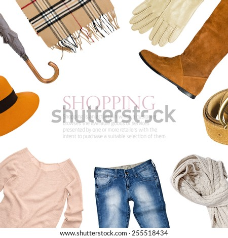 collage collection of warm clothes - stock photo