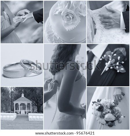 Collage collection of wedding details from ceremony and reception - stock photo