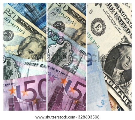 Collage Colorful World Paper Money. Toned.  - stock photo