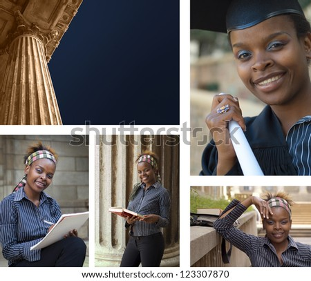 Collage combination classic greek style university college education building and African American student graduating - stock photo