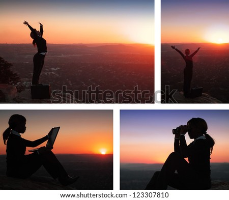Collage combination of African American Business Woman on top of Hill during Sunset - stock photo