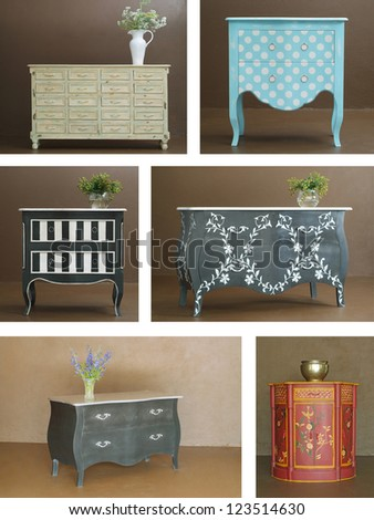 Collage combination of various hand crafted classic wooden furniture interior - stock photo