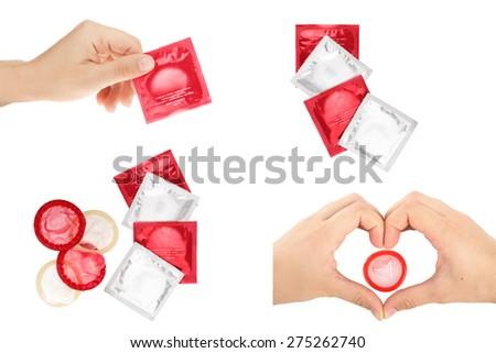 collage condoms - stock photo