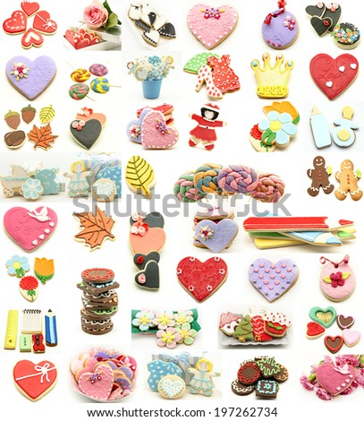 Collage decorated cookie - stock photo